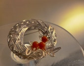 Woven Silver Plated Wreath and Holly Brooch pin