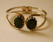 vintage gold tone clamper blue green stones