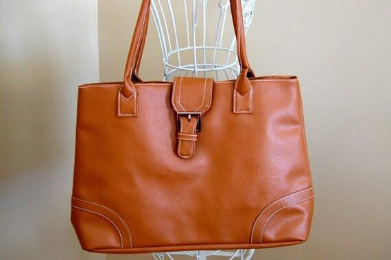 vintage tan faux leather bag