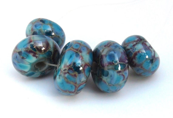 "mAdE tO orDeR...Lampwork Beads SRA handmade in ""ocean breeze"" colors of ocean blue, teal and aqua and lots of silver droplets"