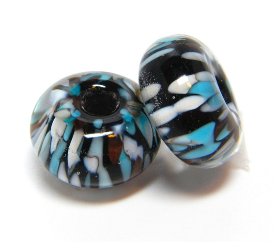 """MaDE tO oRDer....SRA handmade """"midnight meteor showers""""  turquoise, ivory and brown on black pair of  Lampwork Beads"""