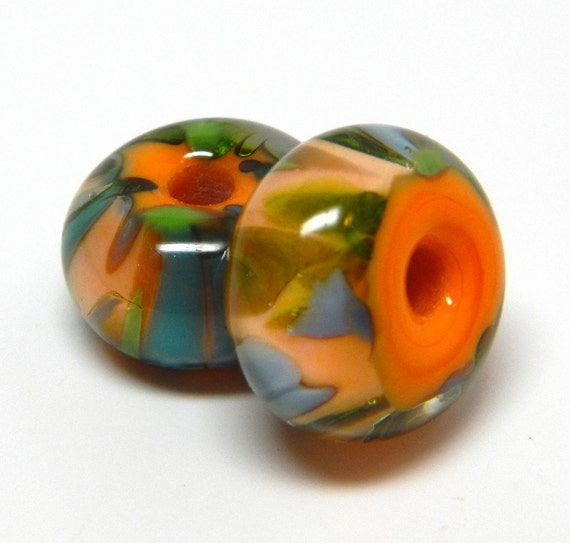 MaDE tO oRDer....SRA handmade caribbean salsa pair of  Lampwork Beads - great for making earrings