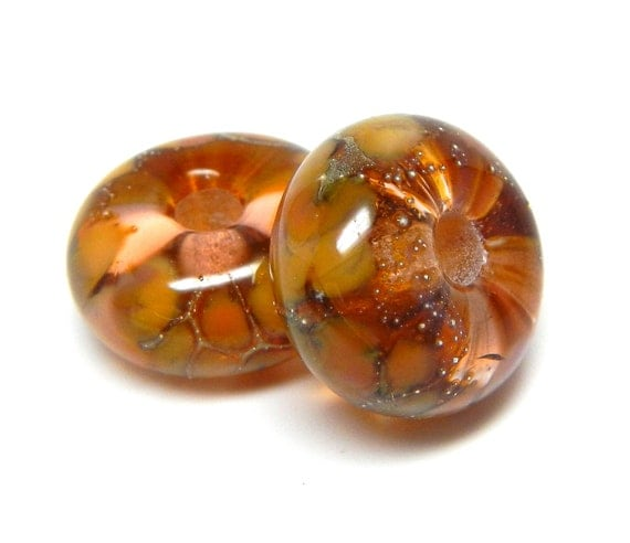 SRA handmade golden pink with pure silver pair of  Lampwork Beads great for making earrings 60812-5