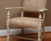 RESERVED Upholstered chair with wood and paisley fabric