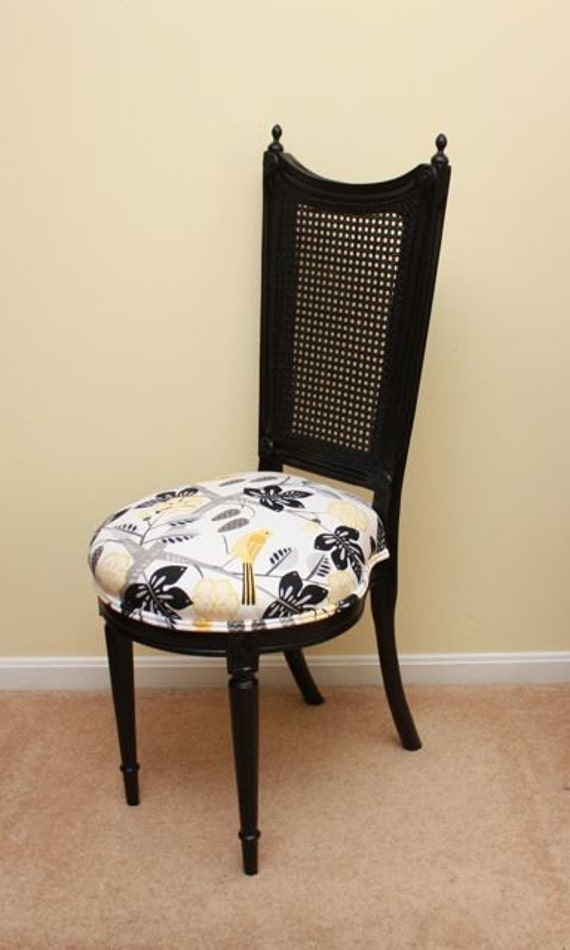 RESERVED FOR nhoblin - Vintage Cane Back Chair with Yellow Birds