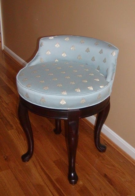 Swivel Vanity Stool with Bee Fabric