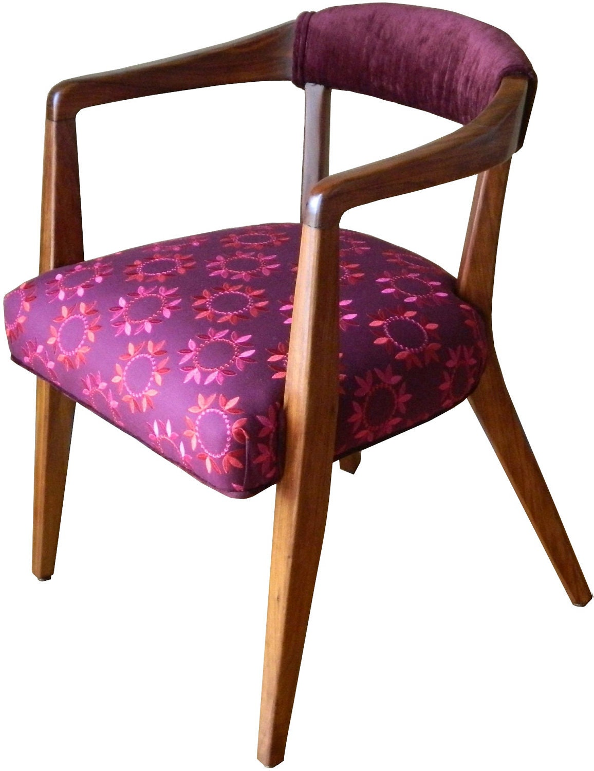 SALE Mid Century Office Side Chairs Pair In Wine And Velvet