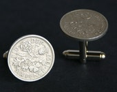 British Six pence coin Cufflinks Lucky, cuff links wedding, grooms men gifts FREE Gift Bag by findstotreasure