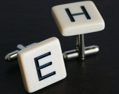 Ivory color Letter Tile Cufflinks wedding, dad, father YOU PICK The Letters FREE Gift Bag cuff links by findstotreasure