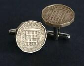 British Three Pence Coin Cufflinks Gate Design, wedding, men, coin collector FREE Gift Bag