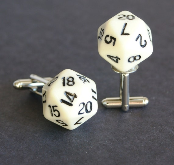 White 20 Sided Dice Cufflinks wedding, gamer groomsmen gift father FREE Gift Bag