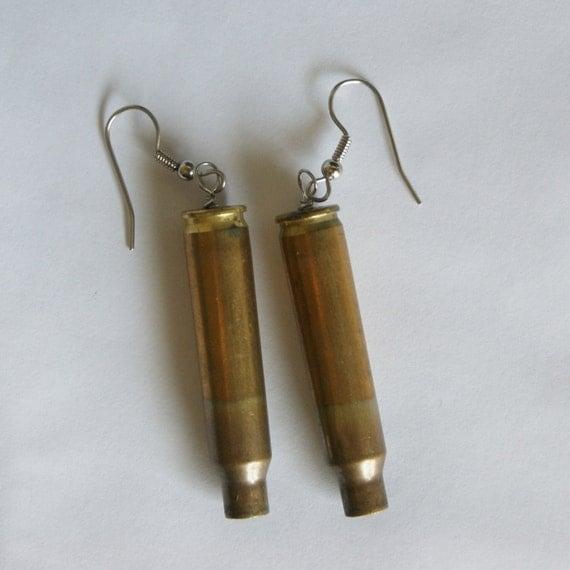 Brass Bullet Shell Dangle Earrings FREE Gift Bag by findstotreasure