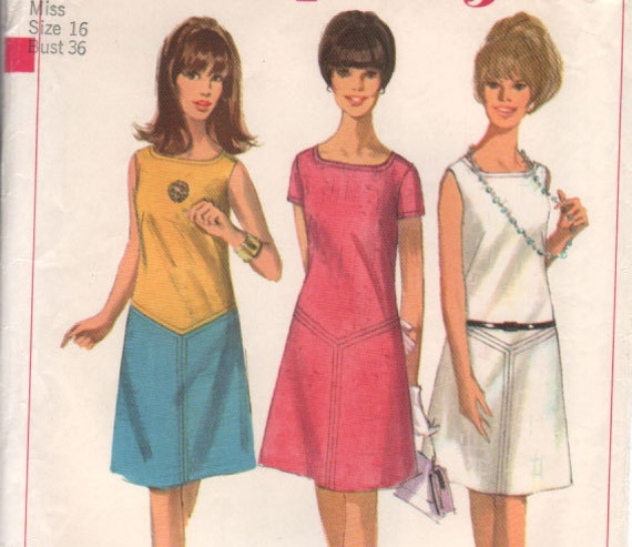 "Vintage 60s MOD TOPSTITCHED DRESS with Lowered Square Neckline - size 16 - bust 36"" (91 cm) - Simplicity 6479"
