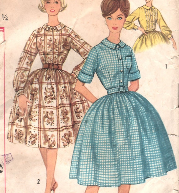 "Vintage 60s SHIRTWAIST Dress with Full Skirt and Optional Pocket Simplicity 3513 Sewing Pattern - size 11 - bust 31.5"" (80 cm)"