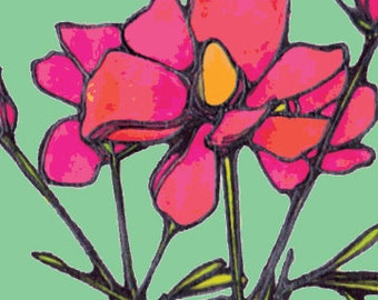 Watercolor and Ink Blue Pink Flower Happy Little Bloom Illustrated Art Print