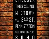 New York Subway Sign Art Subway Print Bus Roll City Poster Printed on Styrene - Modern Home Decor Typography 12X36
