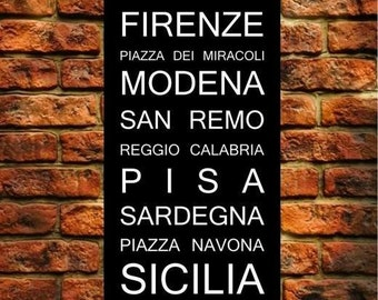 ITALY Subway Roll Sign, ITALIA Typography, Bus Scroll Destination Art Print on Styrene 12x36""