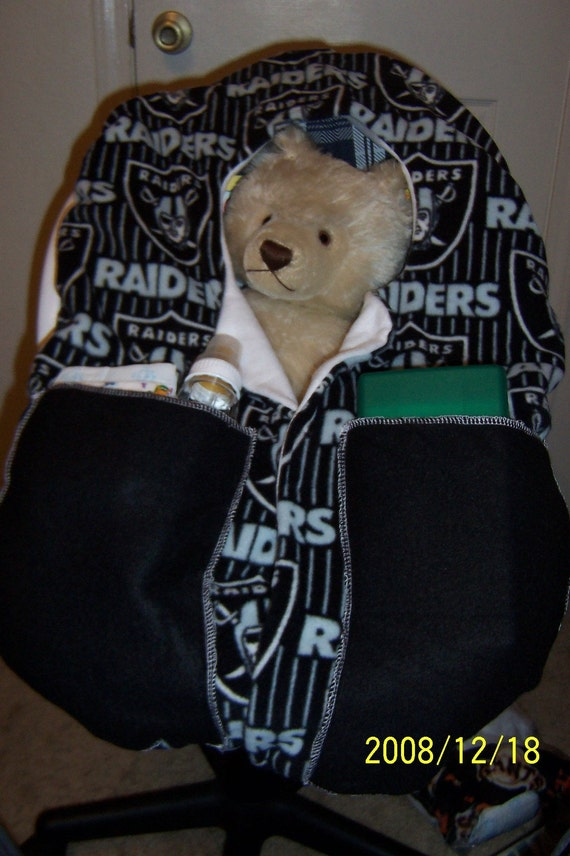 items similar to infant carrier car seat cover oakland raiders on etsy. Black Bedroom Furniture Sets. Home Design Ideas