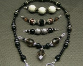 Black Interchangeable Glass Beaded Necklace Free Shipping