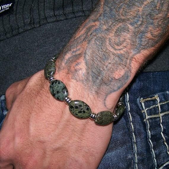Men, Teen, Boy Pine Jasper Gemstone Bracelet Free Shipping