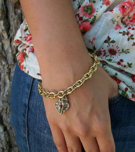 Her Swarovski Heart and Key Charm Bracelet Free Shipping