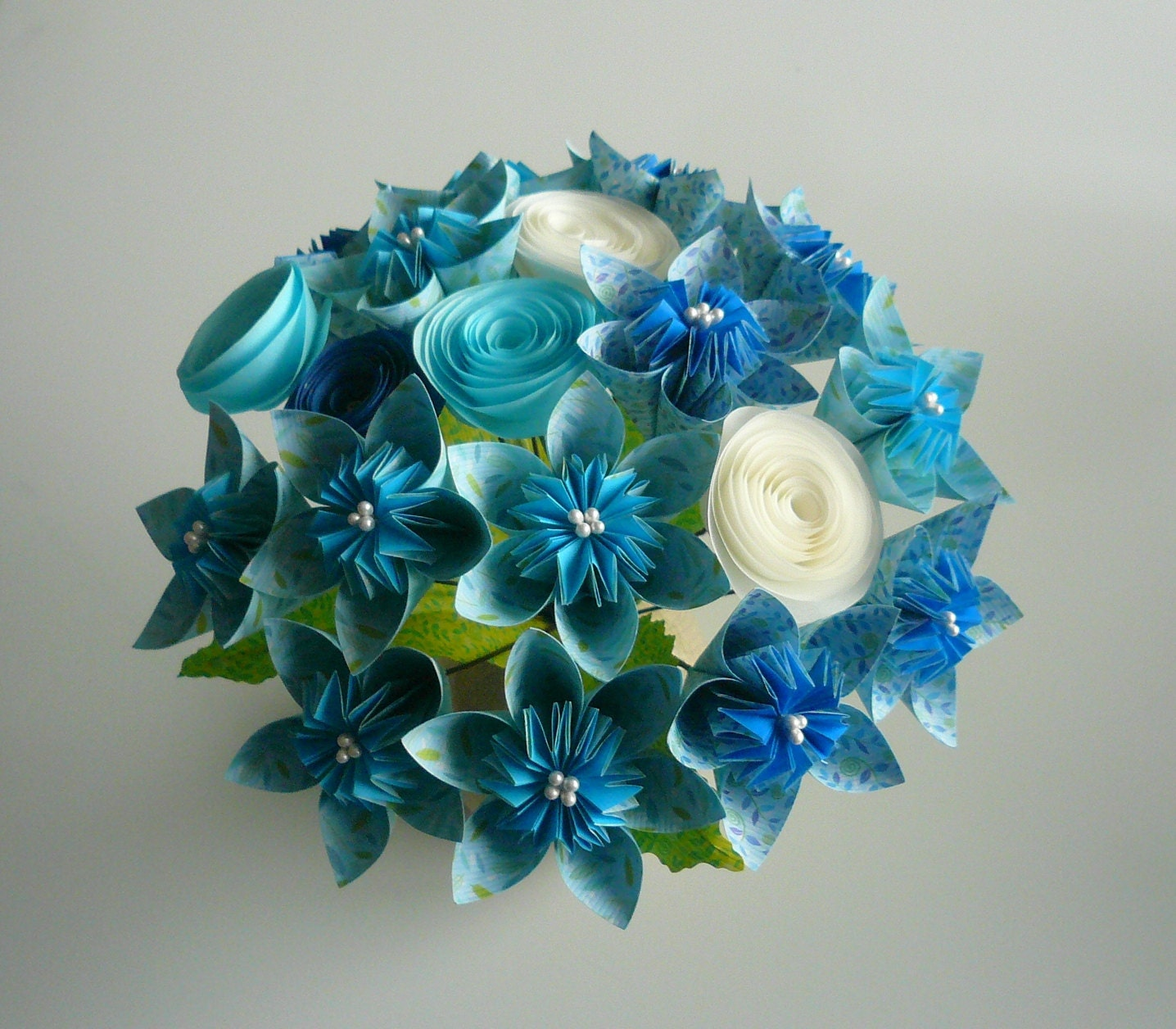 Blue sky beautiful paper flower bouquet can make wedding for Achat bouquet de fleurs
