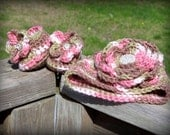 Girls elegant Camo infant/baby/toddler crochet hat with flower attached, booties/slipper pink flower gift set. Made to order.