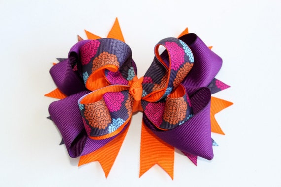 Layered Boutique Hair Bow Orange, Purple, pink & blue Floral hair bow Halloween