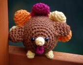 Turkey Amigurumi Thanksgiving Plush Decoration and Toy with colorful feathers - happyhandmadebyjess