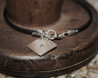 leather and sterling silver single initial bracelet