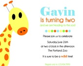 Giraffe Invitation