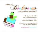Printable Back to School Bookworm Invitation