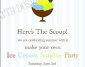 Printable Ice Cream Sundae or Ice Cream Birthday Invitation