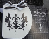 Printable Halloween Invitation Black and White Chandelier