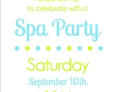 Printable Spa Party Invitation