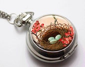 Pocket Watch necklace . pendant charm . Bird's Nest