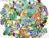 300 pcs leaves  Fimo Slice Nail Art Decoration UV Gel Tips with box