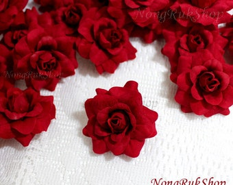 100 Red Roses Artificial Silk Flower Heads for Wedding , Bridal Hair Clip, Bag, Shue Decorate