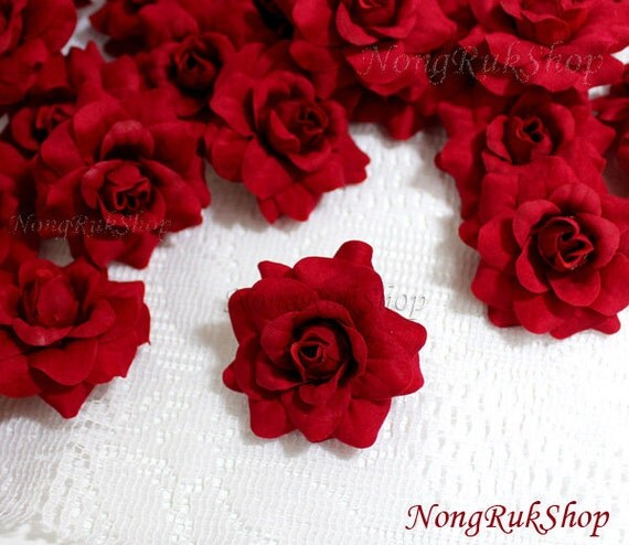 10 Red Roses Artificial Silk Flower Heads for Wedding , Bridal Hair Clip, Bag, Shue Decorate