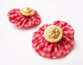 valentine checkered yoyo with gold button 2 hair clips back to schoolblack friday cyber Monday