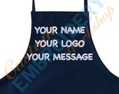 "Personalized Apron - Free Custom Embroidery - 30"" Bib Style Adjustable Apron - Embroidered Kitchen BBQ Chef Cooking Apron"