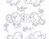 Set of 6 cute Birdies - digital stamp images
