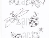 Set of 6 - butterfly, dragonfly etc - digital stamp images