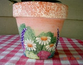 "Hand Painted 6"" Terra Cotta Decorative Flower Pot/Planter"