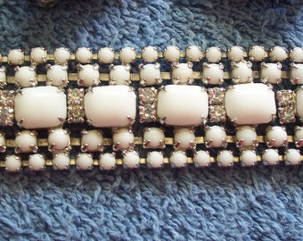 Vintage 60's White Milkglass and Rhinestone Bracelet/Earrings
