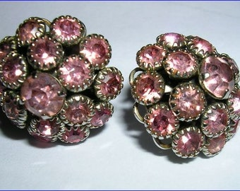 Vintage Pink Rhinestone Earrings-post-style