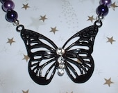 Neozephyrus Butterfly Necklace with purple glass beads