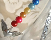 Rainbow Glass Beads Bookmark with Winged Heart Charm