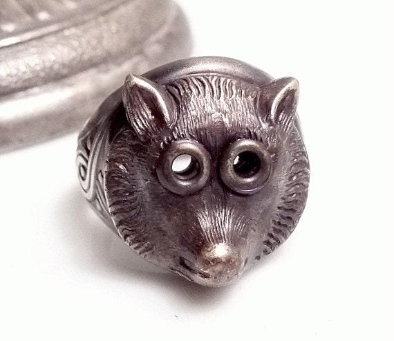 Wolf Ring Big Eyed Riding Hood Wolf Vintage Brass Adjustable Ring