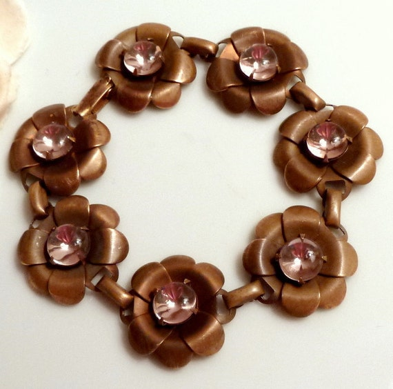 Flower Link Bracelet Very Old Vintage Brass and Glass